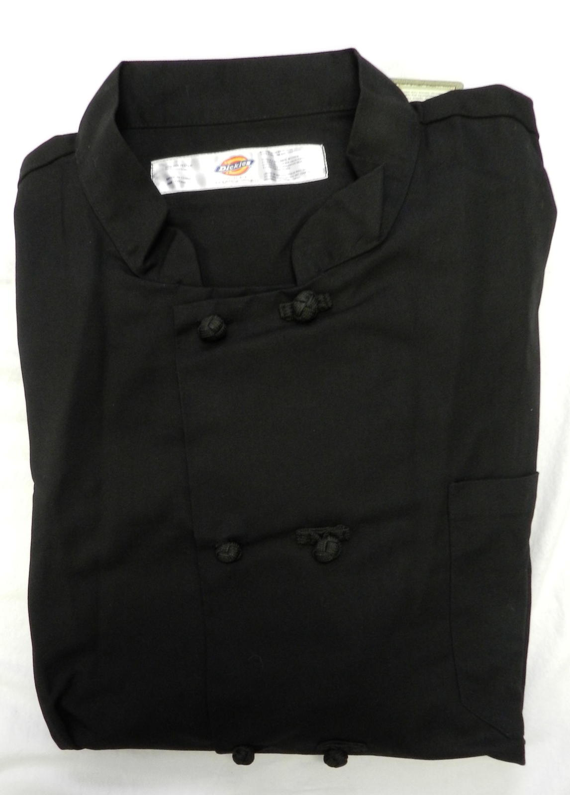 Dickies CW070304C Cloth Knot Button Black Uniform Chef Coat Jacket 4X New