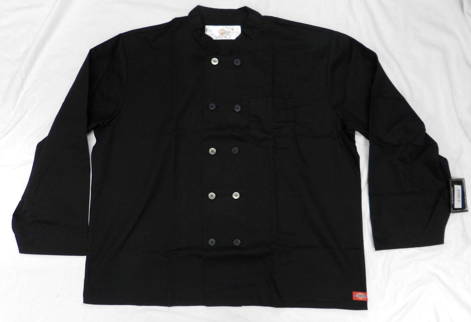 Dickies CW070305B Restaurant Button Front Black Uniform Chef Coat Jacket 3X New