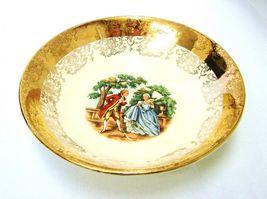 Crest O Gold Sabin 22K Gold Colonial Couple Fruit Berry Dessert Bowl Vintage image 5