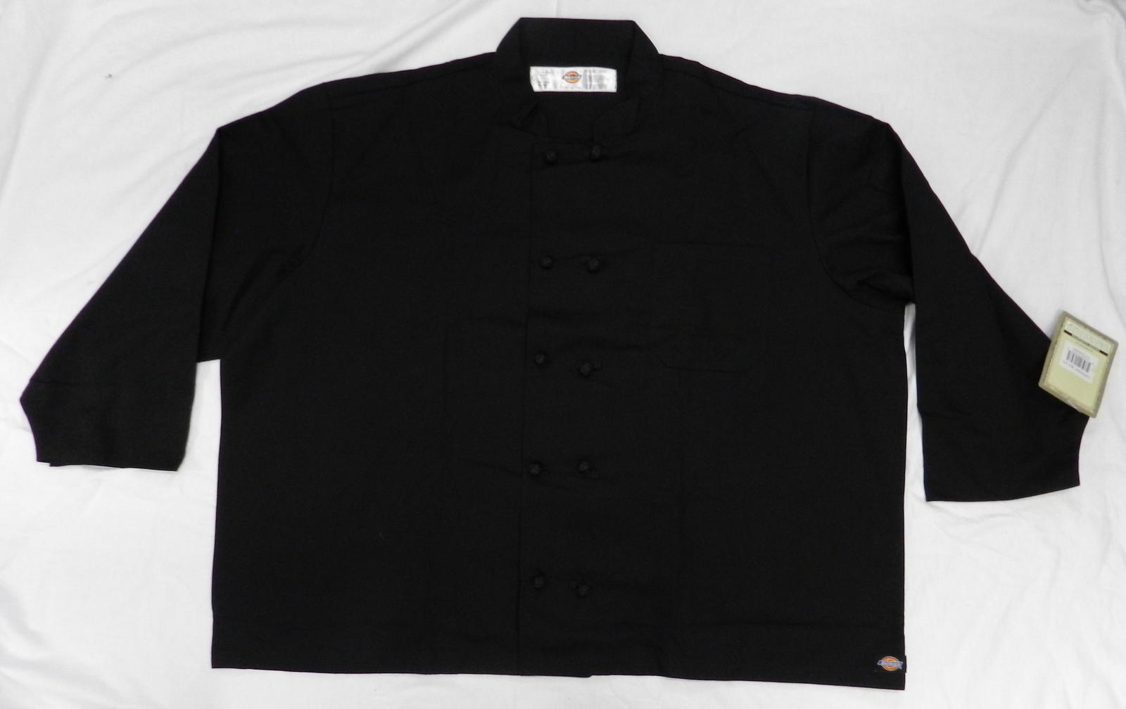 Dickies CW070304C Cloth Knot Button Black Uniform Chef Coat Jacket 5X New