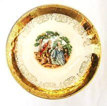 Crest O Gold Sabin 22K Gold Colonial Couple Fruit Berry Dessert Bowl Vintage image 6
