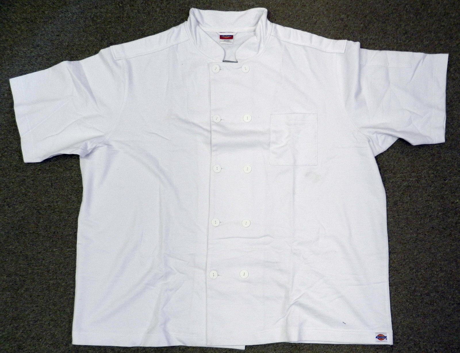 Dickies Jersey Unisex White Restaurant Uniform Chef S/S Coat Jacket S New - $19.57