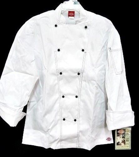 Dickies Executive Chef Coat Jacket CW070302 White with Black Stitch Trim 34 New