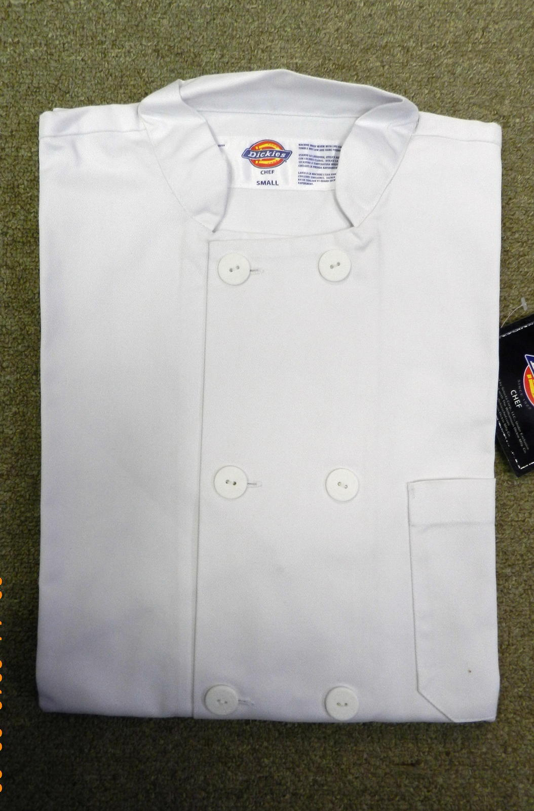 Dickies Restaurant Button Front White Uniform Chef Coat Jacket S New