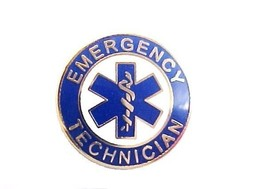 Emergency Technician Uniform Collar Device Pin Blue Gold Star of Life 60... - $13.55