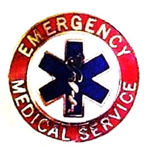 EMS Collar Device Pin Emergency Medical Service Red Nickel Star of Life 55S2 New image 4