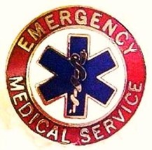 EMS Collar Device Pin Emergency Medical Service Red Nickel Star of Life 55S2 New image 3