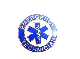 Emergency Technician Uniform Collar Device Pin Blue Nickel Star of Life ... - $12.84