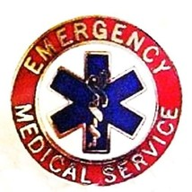 EMS Collar Device Pin Emergency Medical Service Red Nickel Star of Life ... - $13.55