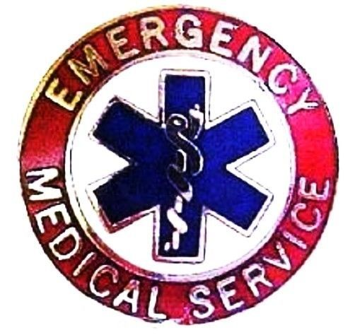EMS Collar Device Pin Emergency Medical Service Red Nickel Star of Life 55S2 New image 2