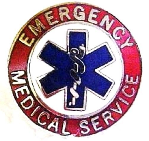 EMS Collar Device Pin Emergency Medical Service Red Nickel Star of Life 55S2 New image 5