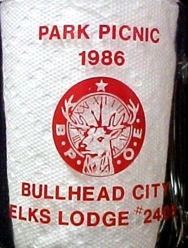 Elks Lodge No 2408 Bullhead City Park Picnic 1986 BPOE Glass Mug