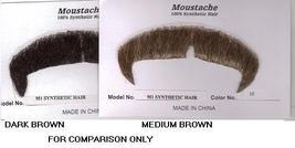 VILLAIN MEDIUM BROWN SYNTHETIC HAIR MUSTACHE - $10.00