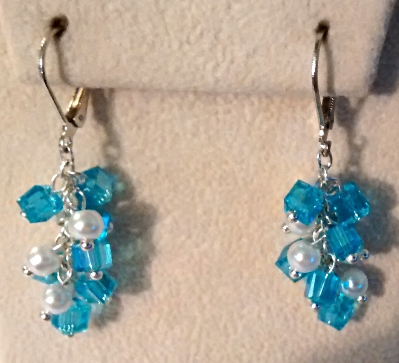 Blue Swarovski Crystal And Pearl Cluster Drop Earrings