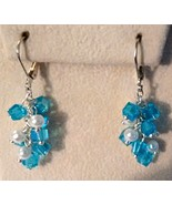 Blue Swarovski Crystal And Pearl Cluster Drop E... - $18.99
