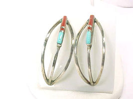 NAVAJO F Barney signed STERLING Silver TURQUOISE and CORAL Vintage Earri... - $69.00