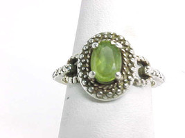 PERIDOT Vintage RING in STERLING Silver by Designer RSE - Size 6 - $45.00