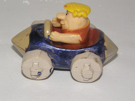 FRED FLINSTONE BARNEY RUBBLE IN HIS BEIGE  AND BLUE RACE CAR -HANNA BARBERA - $5.89