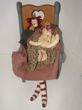 COUNTRY  STYLE WOODEN CHILDS/ DOLL CHAIR  AND RAGETTI  DOLL HOLDING SMOWMAN - $46.74