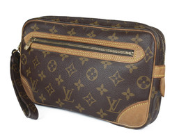 LOUIS VUITTON Marly Dragonne Monogram Canvas Leather Pochette Clutch Bag... - $169.00
