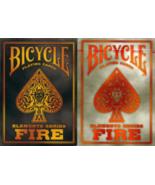 2 Decks Bicycle Fire Black & Grey Standard Poker Playing Cards Sealed Ne... - $9.39