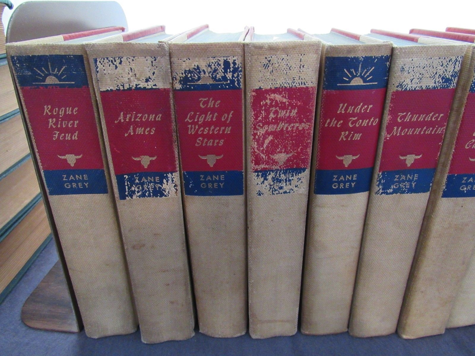 Vintage set of 24 Zane Grey Western HC Books Black's Readers Service Company