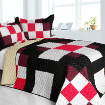 [Romantic Girl] 3PC Vermicelli-Quilted Patchwork Quilt Set (Full/Queen Size) - $101.99