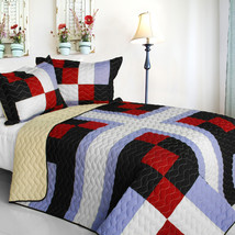 [Floral City] 3PC Vermicelli-Quilted Patchwork Quilt Set (Full/Queen Size) - $101.99