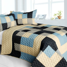 [Russian Coffee] 3PC Vermicelli-Quilted Patchwork Quilt Set (Full/Queen Size) - $101.99