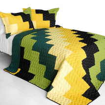 [Bridge of Sighs] 3PC Vermicelli-Quilted Patchwork Quilt Set (Full/Queen Size) - $101.99