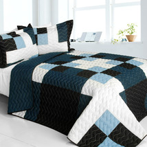 [Ice City] 3PC Vermicelli-Quilted Patchwork Quilt Set (Full/Queen Size) - $101.99