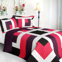[City of Wine] 3PC Vermicelli-Quilted Patchwork Quilt Set (Full/Queen Size) - $101.99