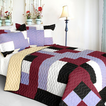 [Wind Castle] 3PC Vermicelli-Quilted Patchwork Quilt Set (Full/Queen Size) - $101.99
