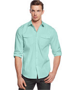 INC Intenational Concepts Men's Owen Mint Green Long Sleeves Shirt Large - £23.19 GBP