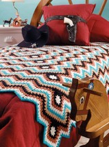 W712 Crochet PATTERN ONLY Granny Poncho & Aztec Ripple Afghan Patterns - $7.50