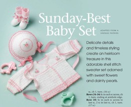 W731 Crochet PATTERN ONLY Sunday Best Baby Set Sweater Hat Booties Patterns - $9.50