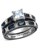 WOMEN'S STAINLESS STEEL PRINCESS CUT BLUE & WHITE CZ WEDDING RING SET SI... - $21.99