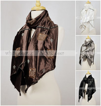 100% Cotton Smooth Shining Soft Party Scarf Fluer De Lis Rhinestone Black Brown - $10.45