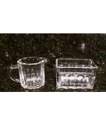 Sugar Packet Holder & Creamer Set Heavy Clear Glass from Estate Sale - $9.89