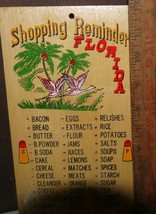 Florida Vintage Souvemir Wooden Peg Shopping List w/ Palm Trees and Flam... - $11.87