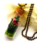 Elegant autumn glass bottle necklace with dried berries and moss, handmade - £17.27 GBP