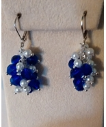 Sapphire Blue Swarovski Crystal And Peral  Cluster Dangle Earrings     - $10.99