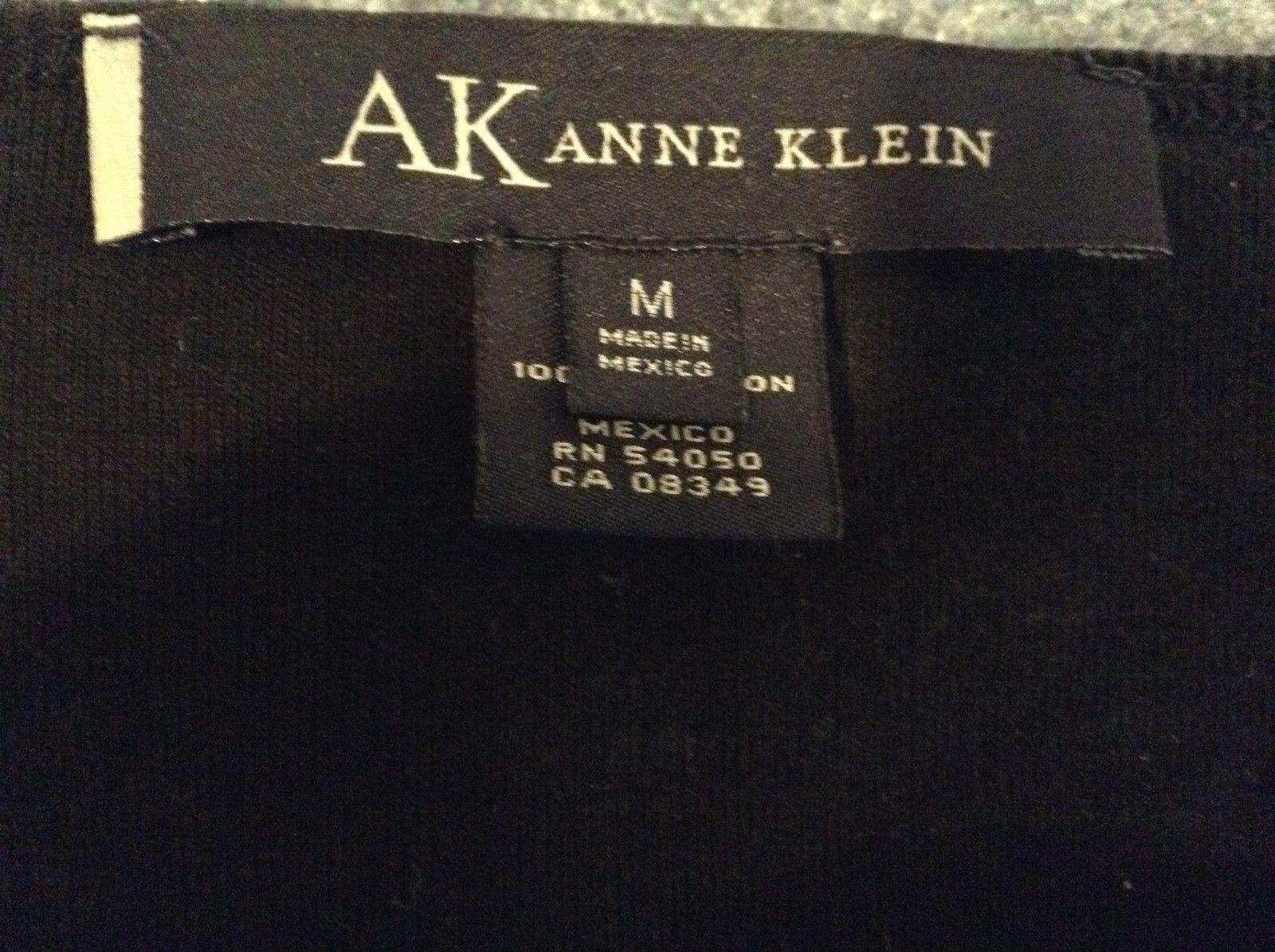 AK Ann Klein Black V Neck Sweater Sz M