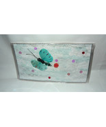 Blue Feather Butterfly w/ Coral Rose Handmade 1 of a Kind Art Checkbook ... - $5.00