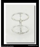 Silver Midi Ring Knuckle Ring Double Rhinestones Unique Size 3 Fashion M... - $9.89