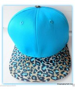 Snap back Hat Turquoise Leopard Print Bill  Adjustable One Size Top Leve... - $17.81