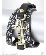 The Lord's Prayer Bracelet Wrap  Black Leatherette Cross Engraved Gold A... - $16.82