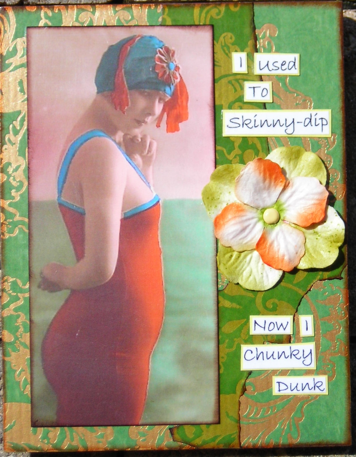 Primary image for ART Collage SFA Small Format Art Women Used To Skinny Dip Now Chunky Dunk Humor