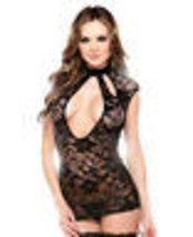 INTRICATE SEXY LACE CUTOUT DRESS WITH HIGH NECKLINE COLLAR & G-STRING  - $21.99