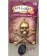 Large Halloween two-sided  Skull & Crossbones Pirate Black Gem Necklace ... - $9.99